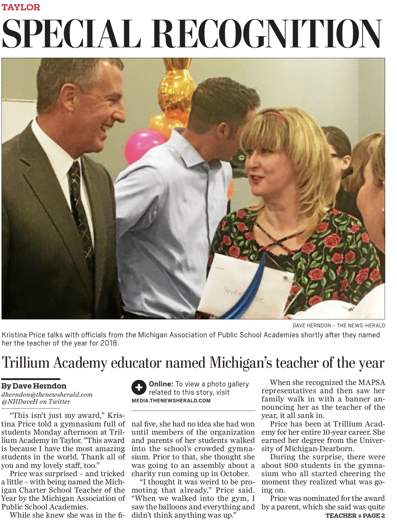 Trillium Academy Charter School Taylor | Teacher of the Year